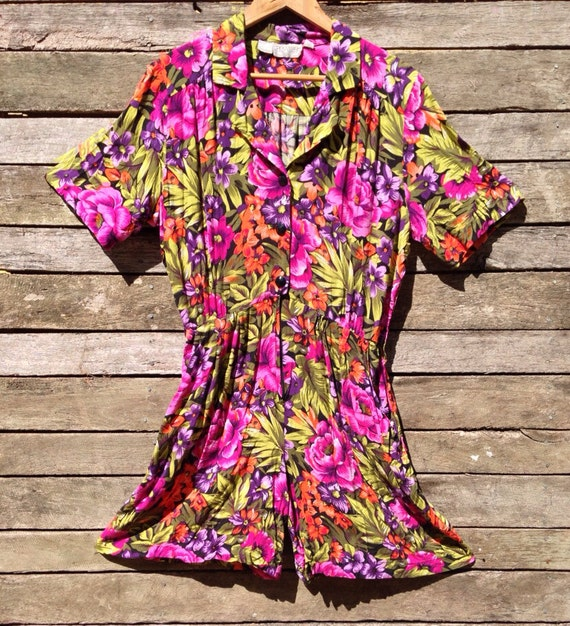 1980's Floral Jumpsuit Skort Dress