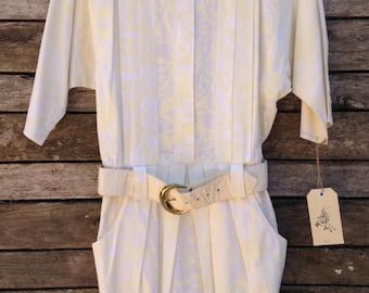 1980's Lemon Print Belted Mini Dress