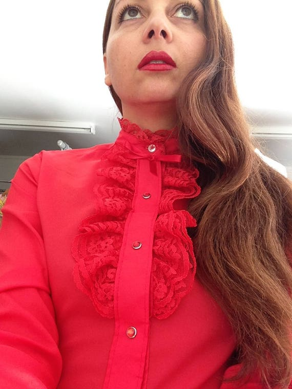 1970's Vibrant Red 'Rhapsody' Blouse with Lace Tri