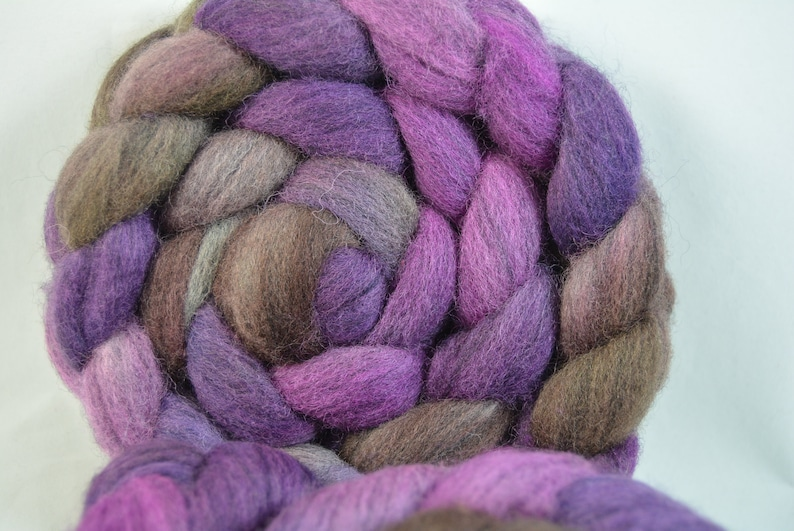 Indie Dyed Corriedale Wool Combed Top Drafts Easily For Spinning and Felting Fiber Art Gray Based Shades of Purple /& Brown Hand Dyed