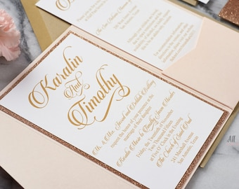 Glitter wedding invitations rose gold, gold wedding invitations with glitter, glitter invitations, wedding invitations glitter, Karalin