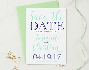 Mint and Navy Save The Date Card, Affordable Save The Date Announcements, Cute Save the Dates, Whimsical save the date, top-rated, Jasmine