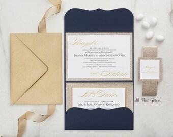 Wedding Invitation in Navy Blue and Gold Glitter, Royal Blue and Gold Wedding Invitation Card, Glitter Wedding Invite Suite, Brandi