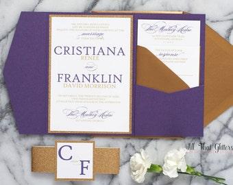 Gold and Purple Wedding Invitations with Glitter, Eggplant Wedding Invitations, Dark Purple Wedding Invite suite pocket, Cristiana