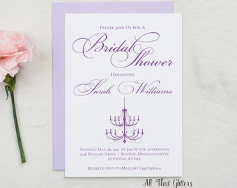 Purple Bridal Shower Invitation with Chandelier, Glitter Bridal Shower Invitation, Eggplant Bridal Shower Invte with Glitter