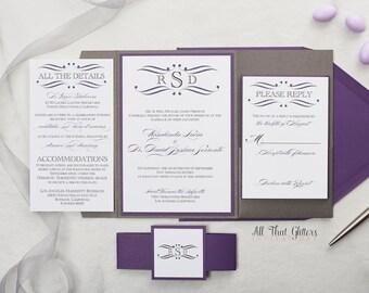Metallic Grey Wedding Invitations, Mercury and Purple Wedding Invite, Pewter Wedding Invitations with purple envelopes, Rosie