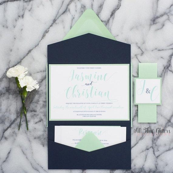 Mint Green Wedding Invitation Suite Navy Blue Wedding Invite Etsy