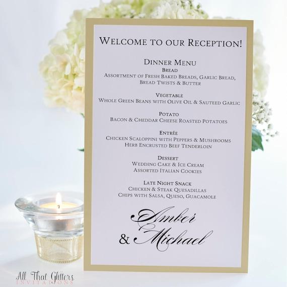 Wedding Reception Menus Printed Wedding Menu Cards Glitter Etsy