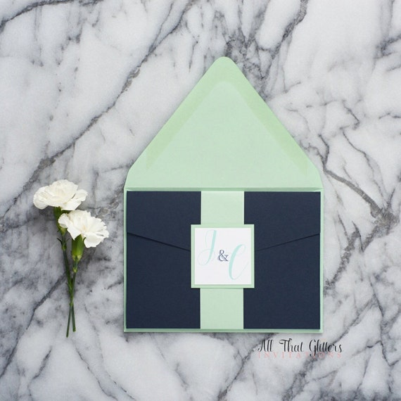 Navy Blue And Mint Green Wedding Invitation With Pocketfold