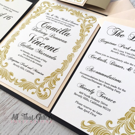 Wedding Invitation Insert Wording: Formal Wedding Invitation Suite With Insert Cards Gold And