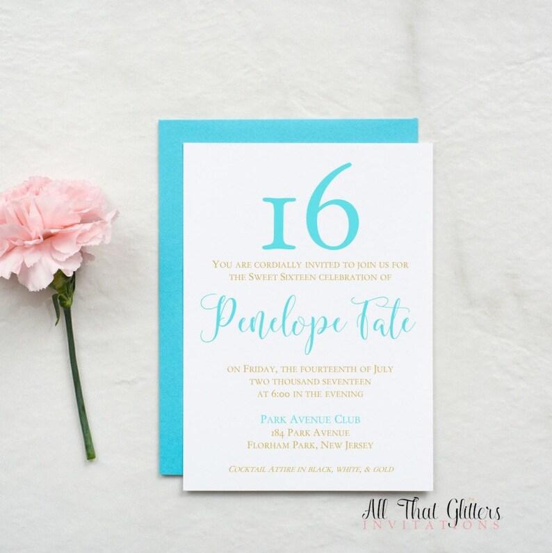 Elegant Sweet 16 Invitations Sweet Sixteen Invite Turquoise Etsy
