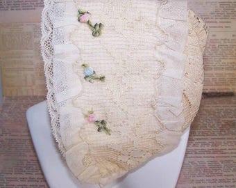 Vintage,Baby Bonnet,FRENCH,French Ribbonwork,Baby Cap,Christening Cap,French Ribbonwork,Lace,French Ribbon Work,Silk,Cream,Pink,Blue