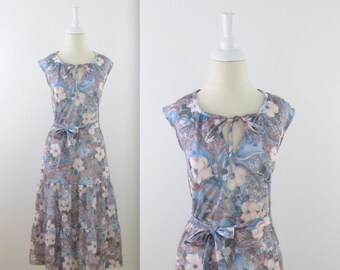 Twilight Floral Midi Dress - Vintage 1970s Sleeveless Drop Waist Dress in Large