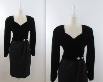 a38215b449c50 Valentino Black Velvet Cocktail Dress - Vintage 1980s Valentino Miss V LBD  Party Dress in Small