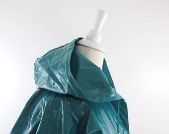 Slippery When Wet Raincoat - Vintage 1980s Hooded Vinyl Rain Coat in Medium Large
