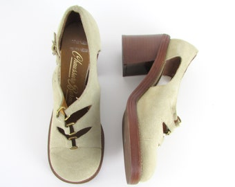 f915f189c Beige Suede Platform Shoes with Cutouts and Chunky Heel - Vintage 1970s  Boho Deadstock Heels in size 5 US of 35 Euro