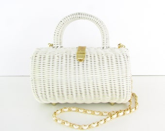 dfc7068a7e Vintage 1980s White Basket Purse w  Crossbody Chain Strap and Top Handle by  Benchmade Leatherworks