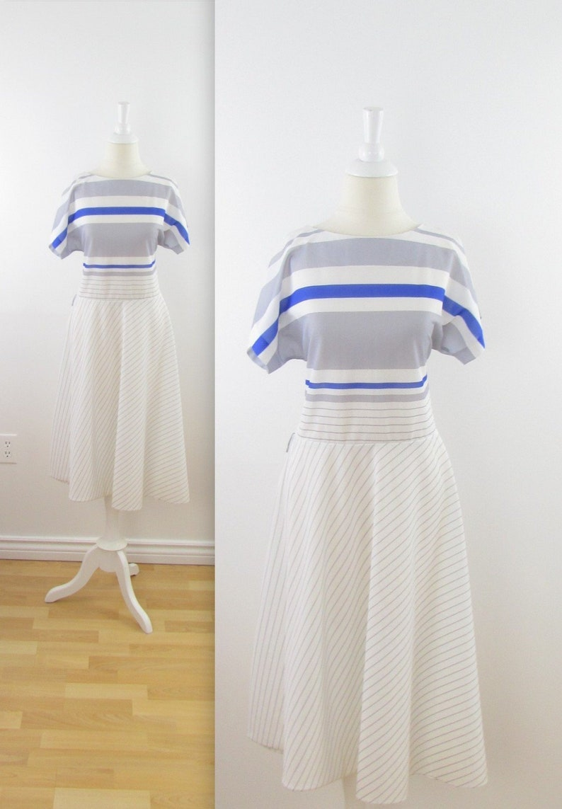1596979932a A Line Striped Dress Vintage 1970s Nautical Circle Skirt