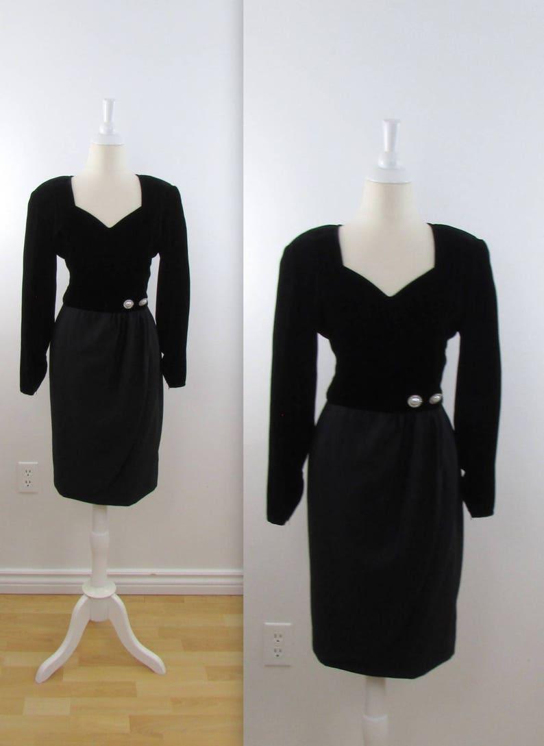 e5deaefa Valentino Black Velvet Cocktail Dress Vintage 1980s | Etsy