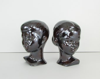 ON RESERVE Vintage Ceramic Bust Sculpture - 1970s Girl and Boy Statues in Ebony Mirror Glaze - Holland Mold