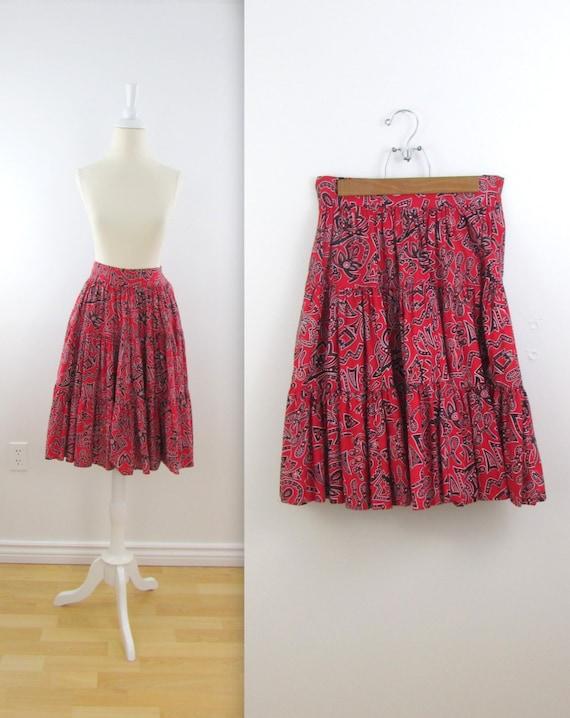 Lola Tiered Ruffle Skirt Vintage Esprit Full Skirt In Red