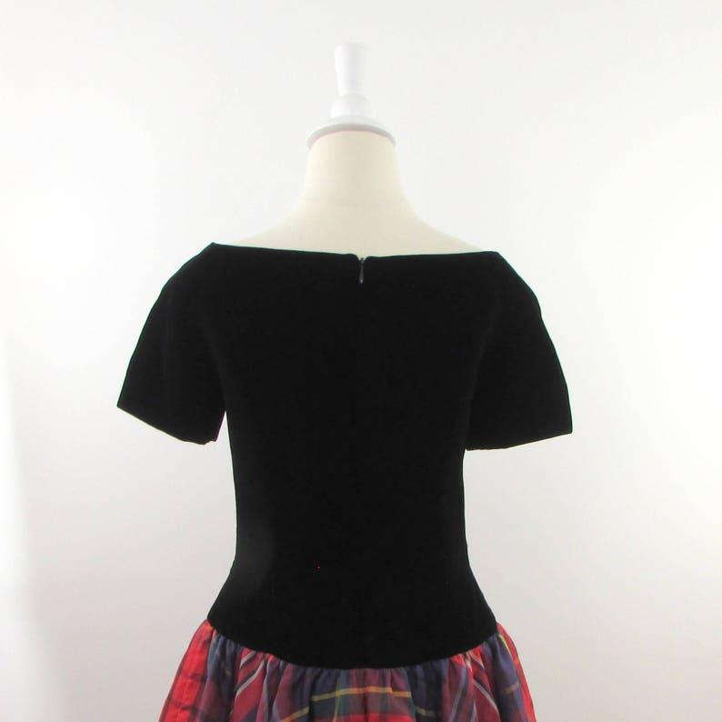 Vintage 1980s Velvet Circle Skirt Evening Dress in Medium Designer Scaasi Tartan Plaid Cocktail Party Dress