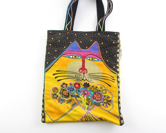 Vintage Laurel Burch Cat Tote Bag - Book Bag