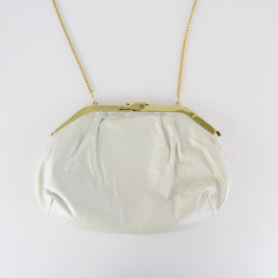 Vintage Leather Purse White Pearlescent Finish - M