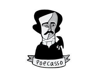 Poecasso pun enamel lapel pin - Picasso Edgar Allan Poe pun