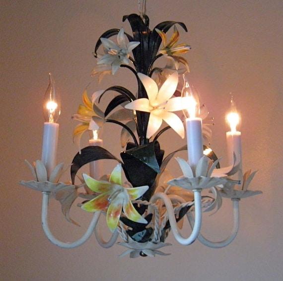 - Vintage Tole Chandelier Italian Antique Chandelier Lilies 4