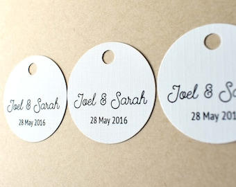 20 x Personalised wedding or engagement favour tags - Customise your names and event date for bonbonniere