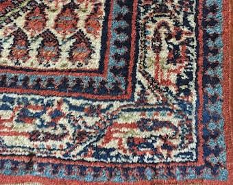 Persian Oriental RUG in Rust, Indigo & Cream, Vintage Wool