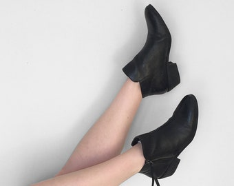 Black Leather BOOTIES Short Moto Boots US Women's Size 6
