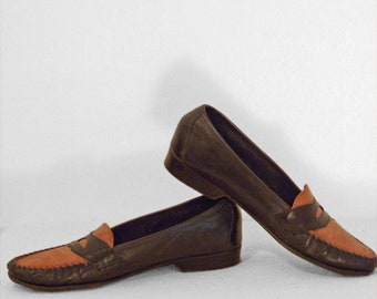 d784a690555 BARNEY S NY Penny Loafers SALE 2 Tone Italian Leather Men s Size 7.5