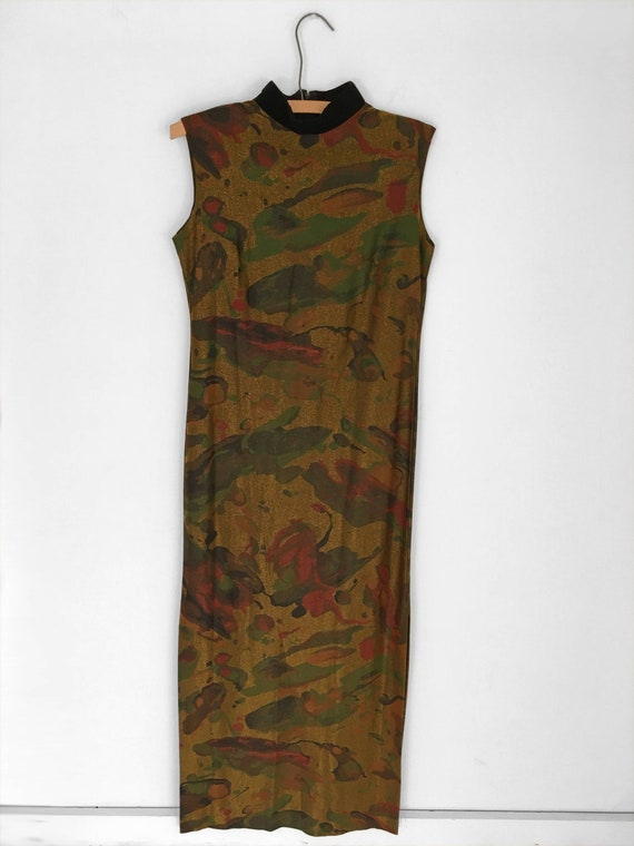 60s Psychedelic MARBLED Dress in Metallic Gold by… - image 2