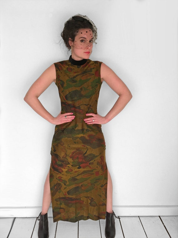 60s Psychedelic MARBLED Dress in Metallic Gold by… - image 3