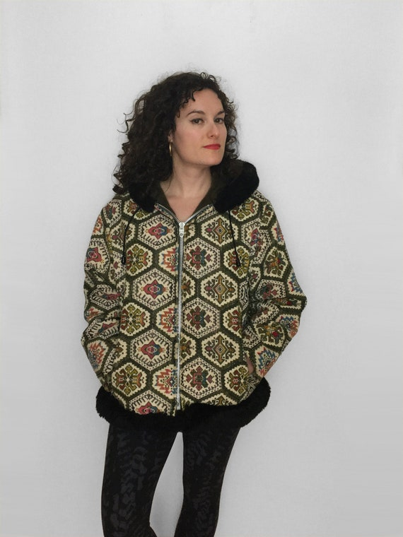 70s Tapestry CARPET Jacket in Rainbow Chenille wit