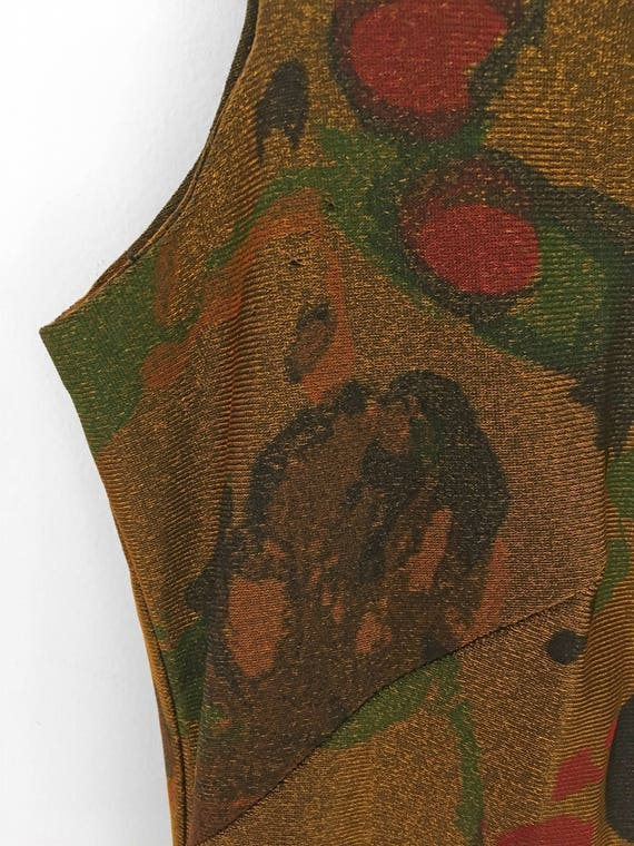 60s Psychedelic MARBLED Dress in Metallic Gold by… - image 5