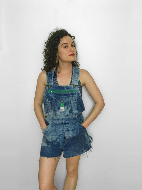 70s Denim Overall Shorts by Liberty with Distresse