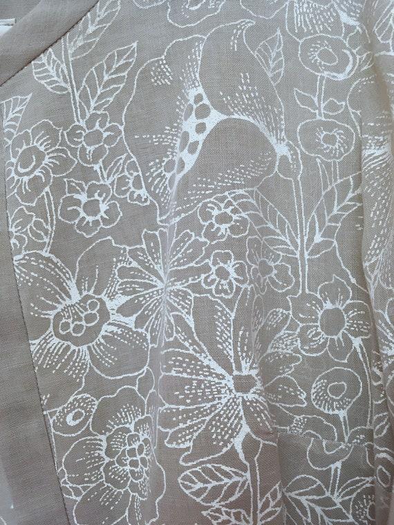Sheer GRAY Duster Cardigan Floral Pattern 60s Korell
