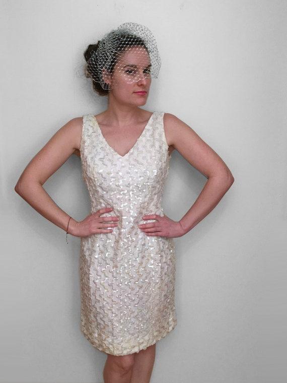 60s AB SEQUIN Wedding Mini Dress