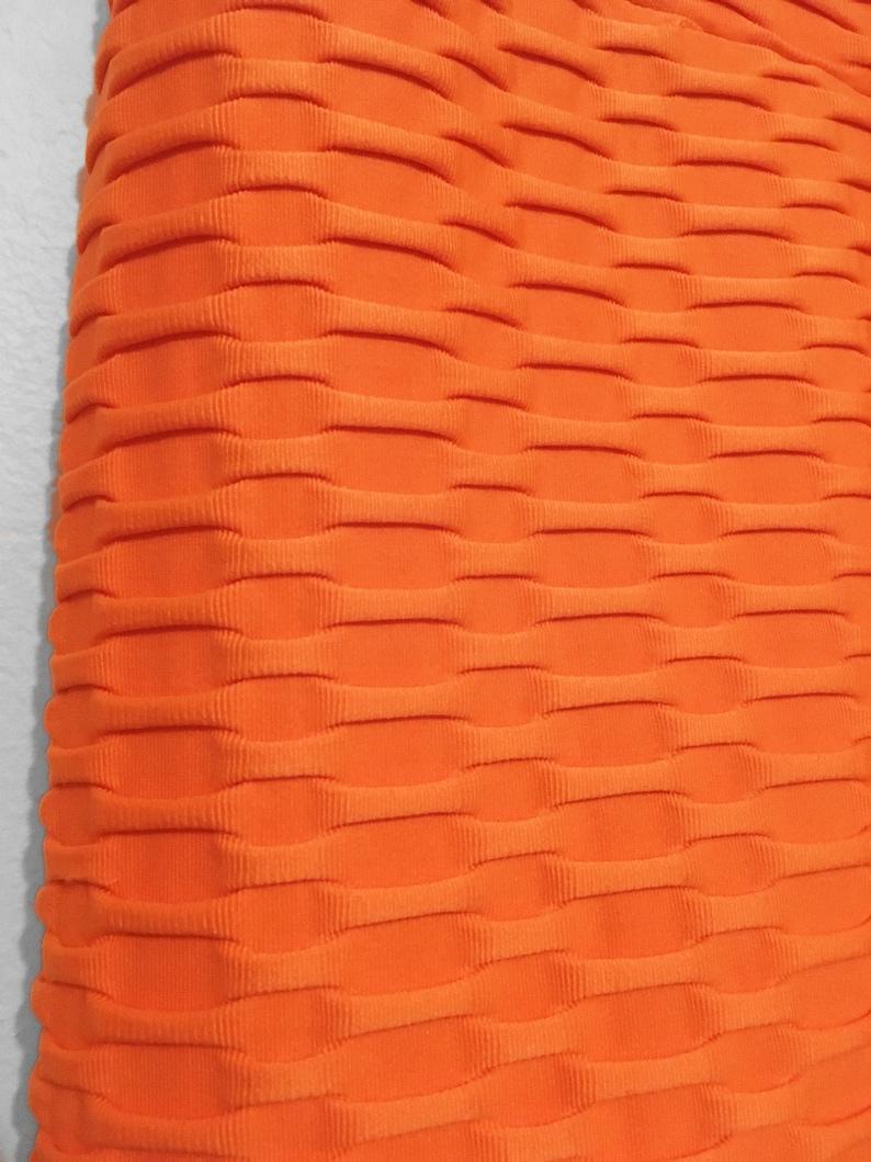 Basketweave Yoga LEGGINGS in Neon Orange