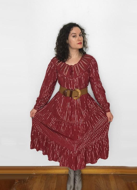 70s Sparkly PEASANT Dress, wine & metallic silver