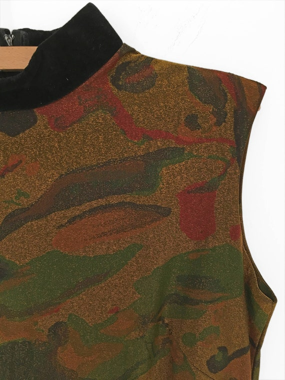 60s Psychedelic MARBLED Dress in Metallic Gold by… - image 1