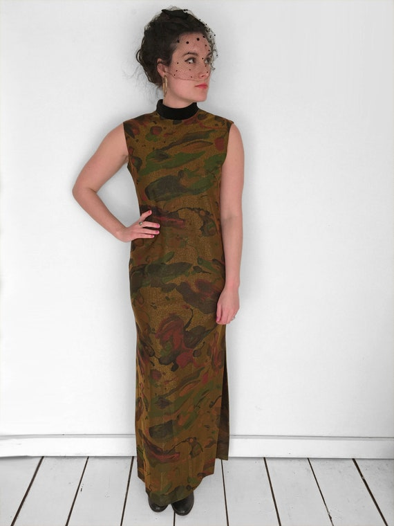 60s Psychedelic MARBLED Dress in Metallic Gold by