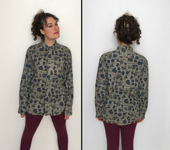 60s Oxford Button Shirt with ROMAN Novelty Print
