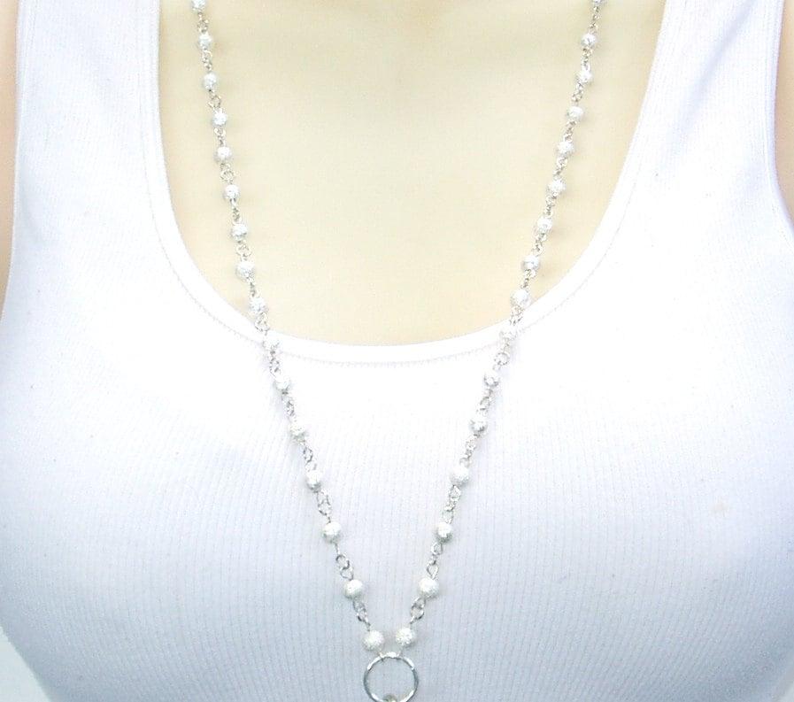 Id Card Beads: Pretty Elegant Silver Beaded Lanyard Silver Bead ID Badge