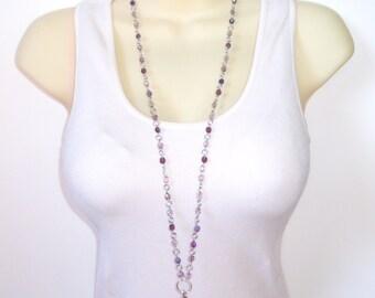 Purple Beaded Lanyard - Fun Beaded Purple, Mauve, Lilac ID Badge Lanyard - Great Teacher Gift