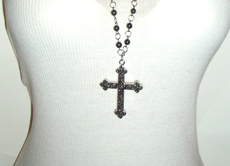 Double Strand Black Rosary Style Black Beaded Cross Chain Necklace Beaded Cross Pendant Necklace