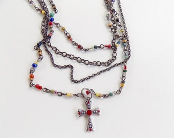 Rosary Style Multi Strand Beaded Cross Necklace - Stylish Goth Double Chain Colorful Beaded Christian Choker